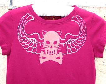 Kitty Crossbones with Wings dark magenta tshirt - womens medium tshirt teen girls tshirt Trap Neuter Spay Feral kitties