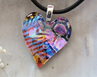 Dichroic Heart Pendant, Glass Jewelry, Petite, Glass Necklace, Necklace Included, One of a Kind, A6