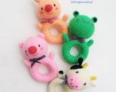 Animal Donut Rattle Toy - PDF Crochet Pattern