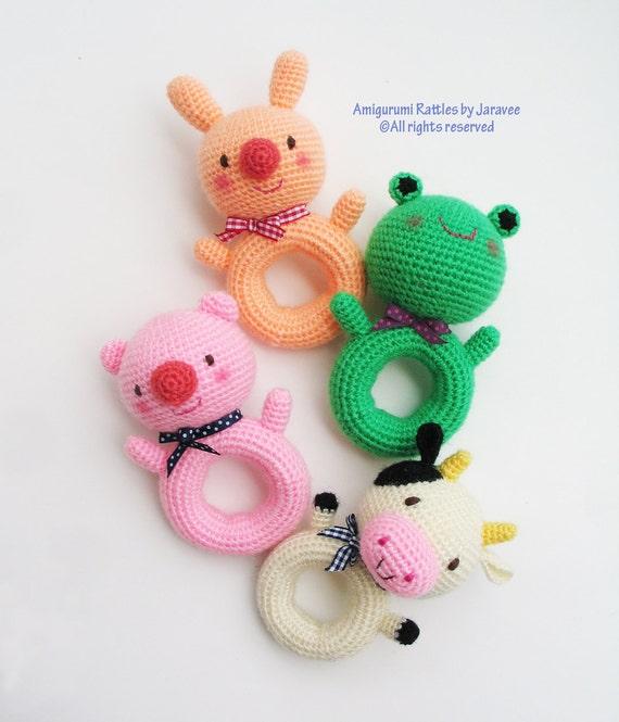 Amigurumi Easy Patterns Free : Animal Donut Rattle Toy PDF Crochet Pattern by jaravee on Etsy