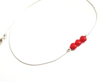 Red, Heart, Silver Necklace, Handmade Jewelry