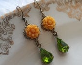 Marigold Mum Earrings with Vintage Glass Teardrop