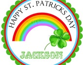 St. Patricks Day Stickers, rainbow and shamrock , Shamrock stickers, favor labels, gift stickers, green, children, kids, set of 12