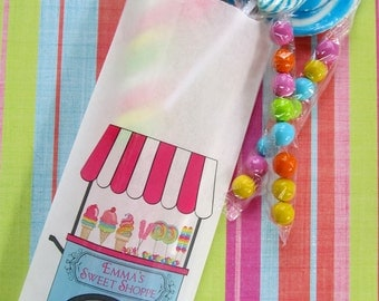 Candy favor Bags, Sweet Shoppe Cart, sweet shop Favor bags, Candy Buffet, Birthday party, Sweets, Treat bags