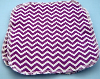 Purple Chevron Double Layer Flannel Washcloths Set of 3