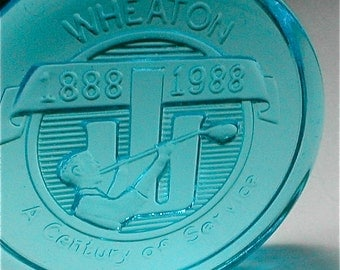 Wheaton Glass Anniversary Paperweight - Turquoise - A Century of Service 1888-1988