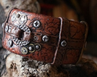 SteamPunk Straps and Cogs Screws and Straps Super Cool Faux Leather