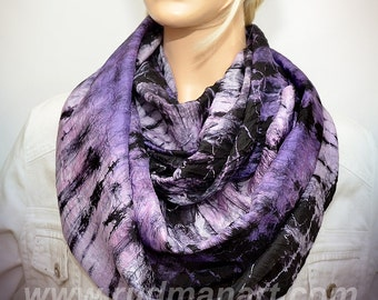 Infinity silk scarf Hand dyed wrinkled Habotai Silk Scarf Lilac Black Tiger