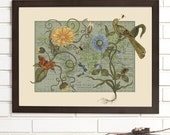 Vintage Map Wall Art, Botanical Delights, Lithograph