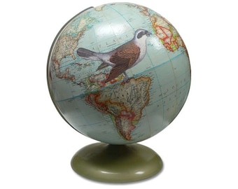 Fly Away, Bird, Vintage Globe Art