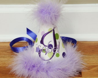 Girls First Birthday Party Hat - Purple and green dots - Free Personalization