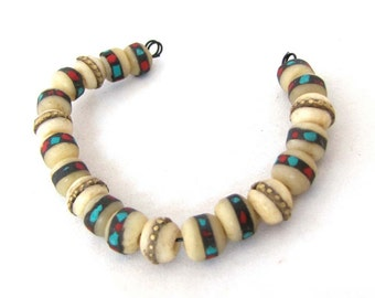 Small White Yak Bone Tibetan Mala Beads Inlaid with Coral Turquoise and Brass Set of 20