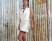 ORGANIC Women's Apron Wrap Mini Dress - ( Light hemp and organic cotton Knit  ) - organic backless HEMP dress