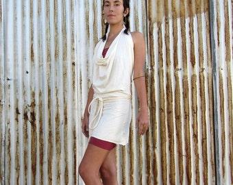 ORGANIC Women's Apron Wrap Mini Dress - ( Light hemp and organic cotton Knit  ) - organic backless HEMP dress