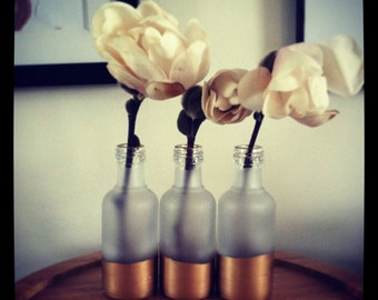Gold Dipped Vase Trio