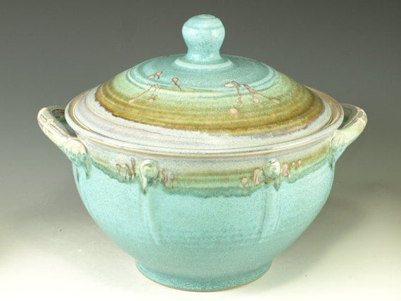 Casseroles (Four Quart)- turquoise Great wedding gift - wheel thrown stoneware pottery