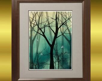 Fantasy Tree Art Digital Painting - Print - 8 x 10 - Everlast -- Trees and Dragonflies