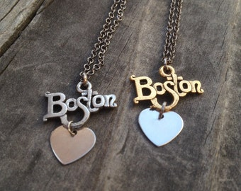 LOVE BOSTON  Necklace - boston pride massachusetts New England - east coast, travel, state necklace, college graduation, high school, love