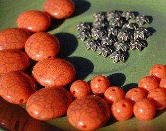 Pumpkin Orange Plastic Crackle Bead and Antiqued Brass Metal  Beadcap Mix