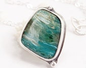 Peruvian Opal necklace Sterling Silver blue gemstone: Sea and Sky