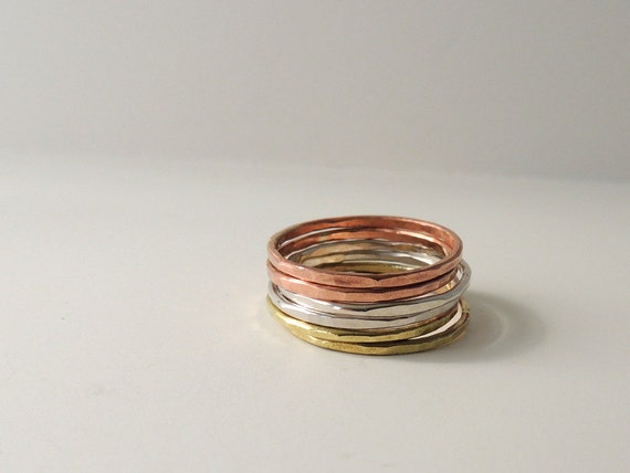 Stackable Rings in Sterling, copper, brass - midi rings, stacking jewelry
