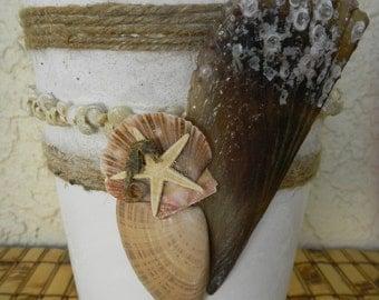 White Vase, Seashell Embellished Ikea Vase
