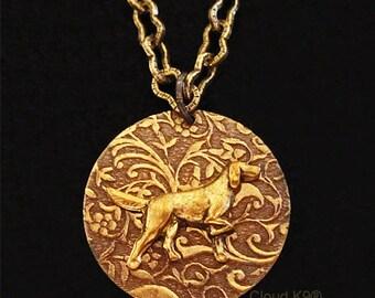 ENGLISH SETTER NECKLACE. Gordon Setter Jewelry. Vintage Style Irish Setter Engravable Charm Pendant.  Suitable for Engraving