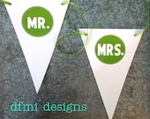 MR. AND MRS. Wedding Chair Signs triangle banner medium size