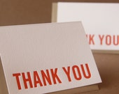 Personalized Fire Red Modern Block Letterpress Thank You Notes : box of 100 small folded cards w custom printing and envelope color options