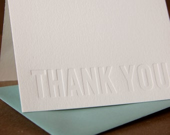 Letterpress Thank You Cards : Impression (No Ink) Modern Block Thank You Notes - box of 75 small folded cards w envelope color choice