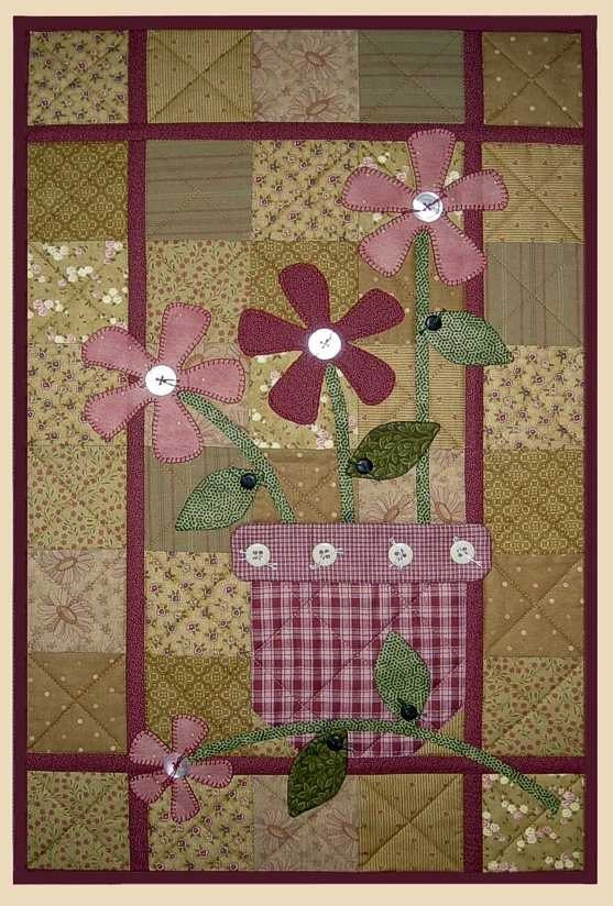 terra cotta wall quilt pattern flowers in vase apple patch