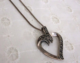 Marquis Necklace - marcasite and sterling heart pendant on sterling necklace - Free Shipping to USA