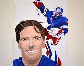 Henrik Lundqvist New York Rangers Goalie 12x16 in. Canvas Painting