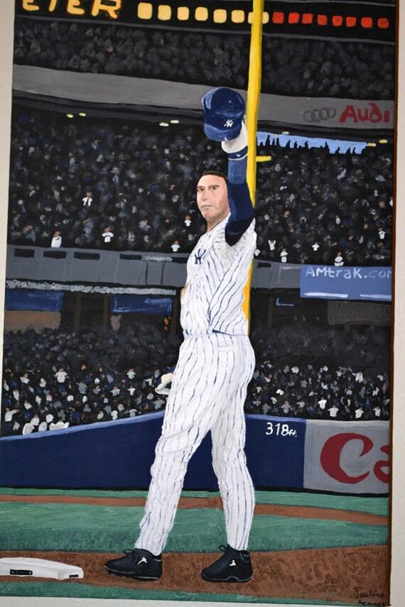 SUMMER SALE- Derek Jeter New York Yankees Salute 8x24 in. Canvas Painting