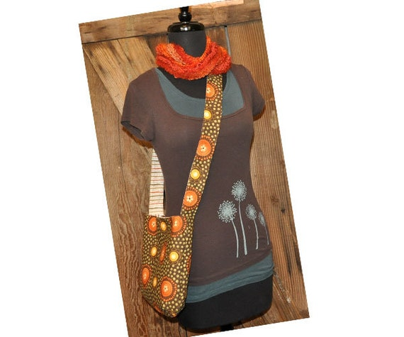 Sling bag and cross body bag: Flowers and Dots in Walnut