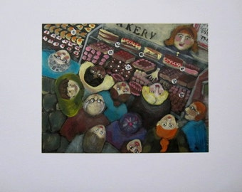 OPENING TIME at the BAKERY Signed Limited Ed. Original Print from Painting  by Ellen Haasen
