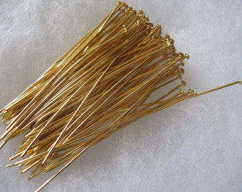Head Pin 2 inch 24 Gauge 100 Gold Plated