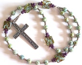 Handmade Anglican Ecumenical Rosary in Soft Green and Lavender