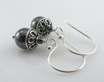 Petite Metallic Hematite Earrings - Round Hematite Beads, Bali Bead Caps, Sterling Silver