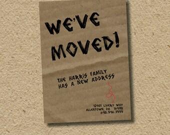custom moving announcement card . . . cardboard box