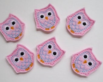 Lt Pink with Lt Blue Embroidered Owl Embellishments -167
