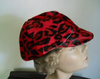 Red Suede Leopard Vintage Kokin Newsboy Cap Hat New York
