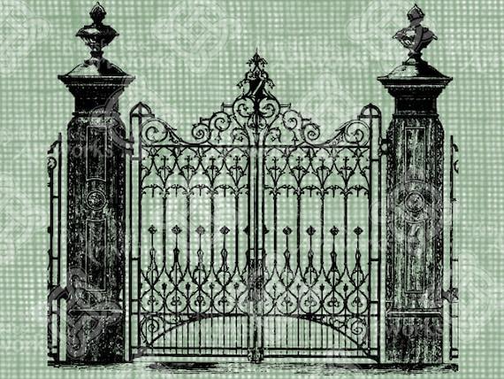 Digital download vintage wrought iron gate digi stamp digis