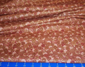 Exquisite Floral w Asian Flair - 1/2 yd - Peach Rust Bronze metallic Gold - quilt craft fiber arts collage decor