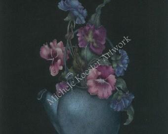Colored Pencil Art Print Teapot Pansies Wall Art/Giclee Art Print