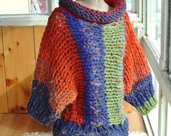 "Batwing pullover sweater cowl neck super chunky knit for small and medium women  ""Brights 3"""