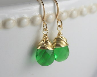 Emerald Green and Gold Earrings, Gold Green Earrings, May Birthstone Earrings