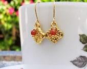 Chandani Golden Charm with Carnelian Boho Chic Earrings