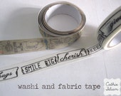 Washi and Fabric Tape - Prima Life time - 2 rolls - words and images - gift wrap scrapbooking