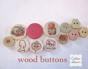 Wood Buttons - Prima Divine - 12 pcs - floral, stripe, embossed, lace - Scrapbooking, Embellishments, Sewing